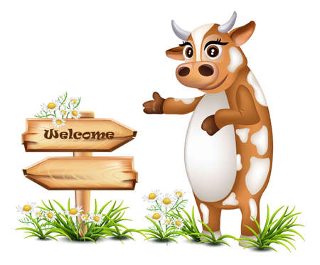 Welcome wood sign with a happy cow Vector illustration