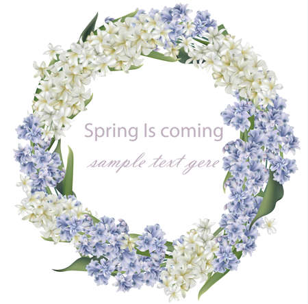 Hyacinth flower wreath bouquet Vector. Spring Realistic card Ilustração