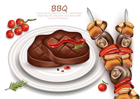 Grilled steak and Barbecue Vector realistic.