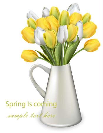 노란 튤립 꽃 꽃다발 벡터 현실적인 그림 스톡 콘텐츠 - 95462213