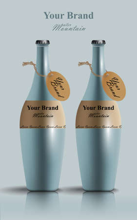 Realistic water bottles Vector. Product packaging Label designs Illustration