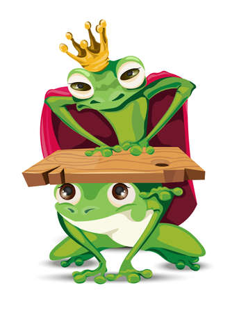 King frog vector cartoon character. Bossy power metaphoric representation. Illustration