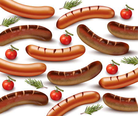 Sausage pattern Vector realistic. Grilled beef and pork meats illustration Foto de archivo - 95796488