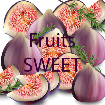 Sweet fig fruits Vector realistic. Fresh fruits backgrounds Vettoriali