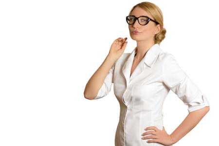 Blonde Woman doctor looking through glasses isolated on white backgrounds Archivio Fotografico