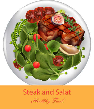 Steak and spinach salad Vector realistic. Healthy gourmet dinner. Template menu pages Illustration