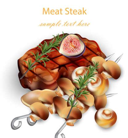 Beef Steak and mushrooms Vector realistic. 3d illustration