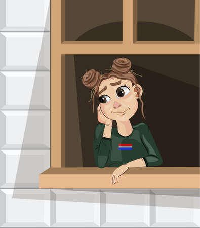 Girl dreaming near the window Vector cartoon characters  イラスト・ベクター素材