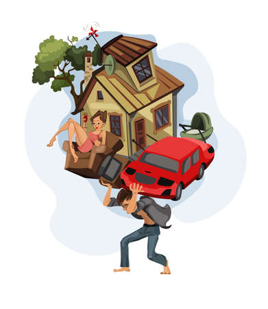 Man carrying a house and car on his back Vector cartoon illustration. Money, work, dept, Credit history concepts