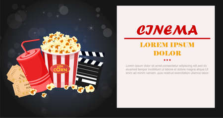 Juice, Popcorn and movie tickets Vector illustration Ilustrace