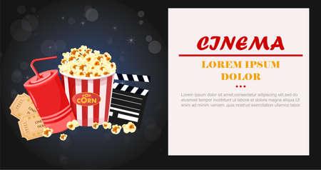 Juice, Popcorn and movie tickets Vector illustration Stock Illustratie