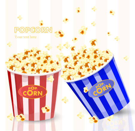 Popcorn in red and blue striped bucket boxes.
