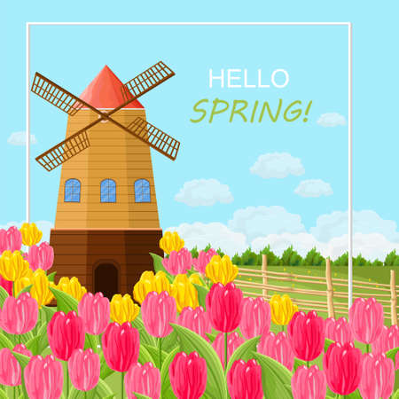 Spring card with tulips and a mill. Vector