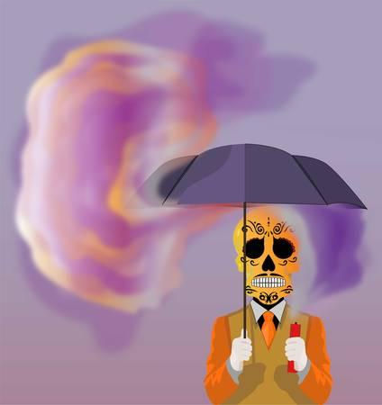 Skull holding an umbrella vector illustration.
