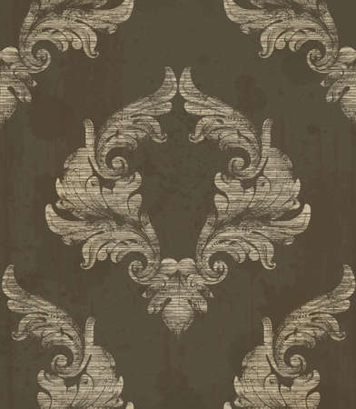 Damask pattern antique ornament Vector illustration. Texture design decors Çizim