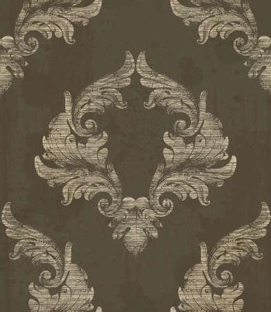 Damask pattern antique ornament Vector illustration. Texture design decors Vettoriali