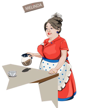 Woman waitress serving coffee Vector cartoon characters