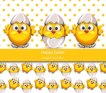 Easter card with cracked eggs and cute little chicken. 向量圖像