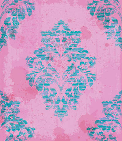 Damask pattern ornament decor Vector. Baroque fabric texture illustration designs