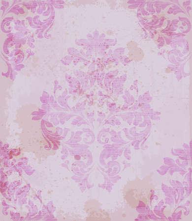 Damask pattern ornament decor Vector. Baroque fabric texture illustration design