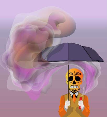 Skull holding an umbrella Vector illustration concept