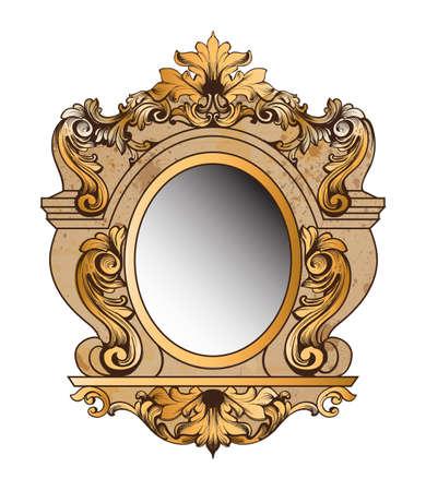 Cadre doré baroque cadre. élément de design vecteur rondes décoration. ornement rich Banque d'images - 97132265