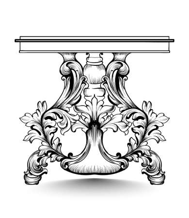 Baroque console table with luxurious ornaments. Vector French Luxury rich intricate structure. Victorian Royal Style decors