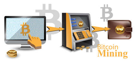 Digital vector bitcoin cryptocurrency realistic money transfers financial concept. Cash machine, wallet, computers