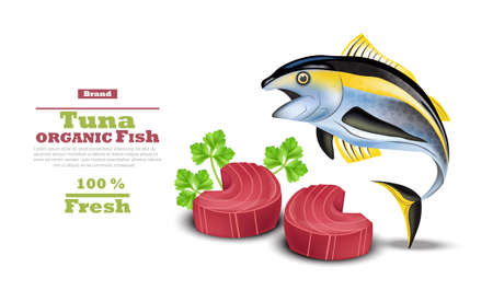 Fresh tuna fish vector. Organic tuna steak meat illustration.