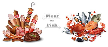 Set of meat vs seafood set vector realistic detailed illustration. Meat or fish text.