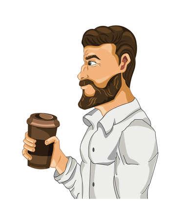 Man drinking coffee Vector cartoon character illustration.