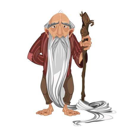 Oude man herder Vector. stripfiguur gedetailleerde illustratie