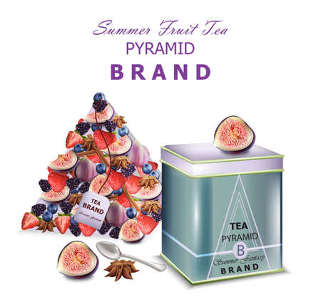 Fruits tea Vector realistic packaging. Pyramid design fresh fruits mixes fig fruit and blueberry
