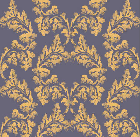 Damask pattern ornament decor Vector. Baroque fabric texture illustration design