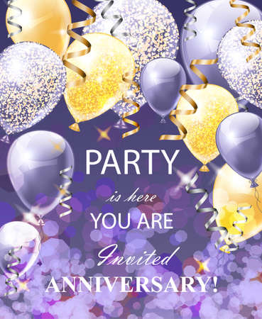 Happy Anniversary card with balloons. Festive party background realistic Vector illustration