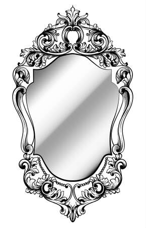 Imperial baroque mirror frame. Vector French luxury rich intricate ornaments. Victorian royal style decor. Çizim