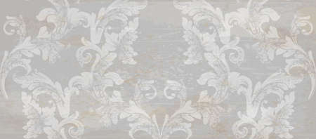 Grunge paper Damask pattern ornament decor Vector. Baroque fabric texture illustration design