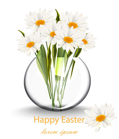 Happy Easter card with chamomile flowers bouquet Vector illustration