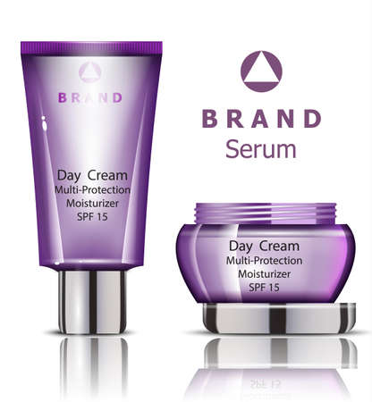 Cosmetics set realistic Vector packaging. Day cream, serum product mock up