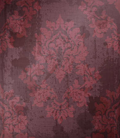 Damask pattern ornament decor Vector. Baroque fabric texture illustration designs. Bordeaux color