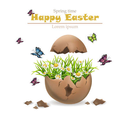 Happy Easter card Vector. Cracked egg and flowers illustration Illustration