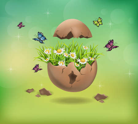 Happy Easter Cracked egg and chamomile flowers illustration