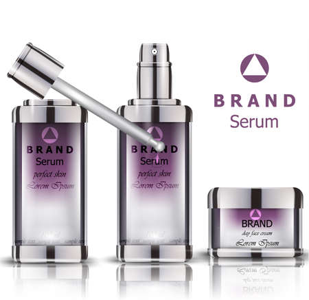 Cosmetics set realistic vector packaging. Day cream, serum products mock up.