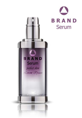 Cosmetics realistic Vector packaging. Lavender Perfume bottle mock up  イラスト・ベクター素材