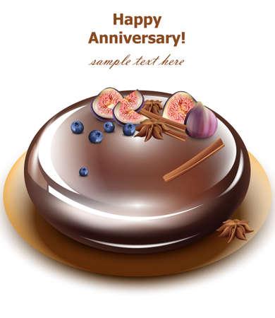 Happy Anniversary cake Vector. Sweet birthday dessert mirror glaze cake.