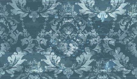 Vector de decoración de ornamento de patrón de Damasco antiguo. Diseño de ilustración de textura de tela barroca. Ilustración de vector