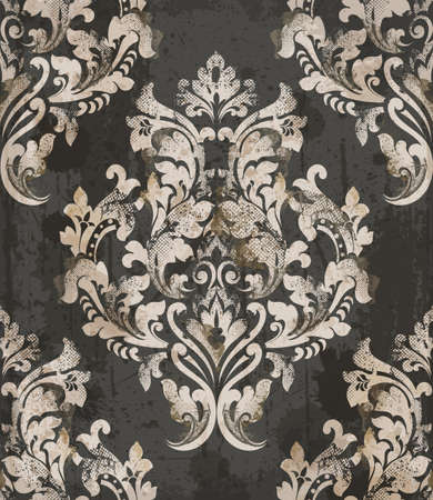 Damask old pattern ornament decor vector. Baroque fabric texture illustration design. 矢量图像