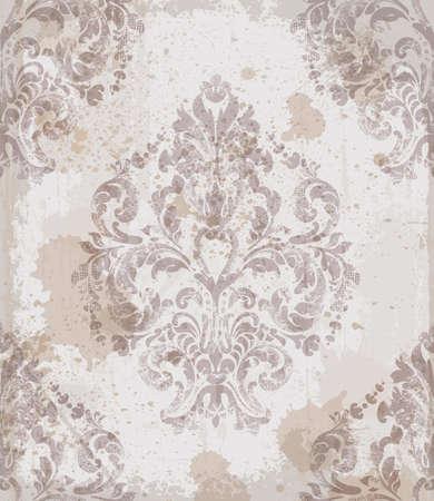 Damask old pattern ornament decor vector. Baroque fabric texture illustration design. Illustration