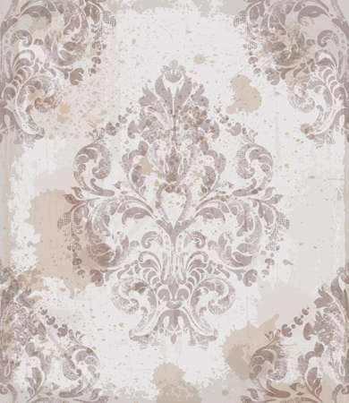 Damask old pattern ornament decor vector. Baroque fabric texture illustration design. Vettoriali