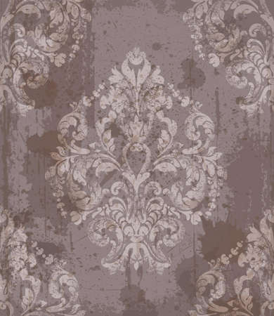 Damask old pattern ornament decor vector. Baroque fabric texture illustration design. Çizim